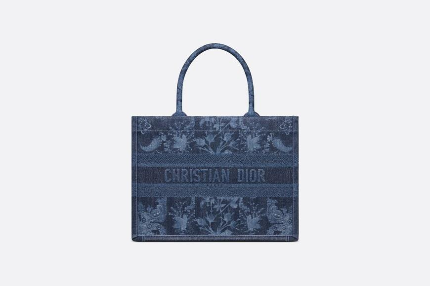 Small Dior Book Tote • Blue Dior Flowers Embroidered Denim