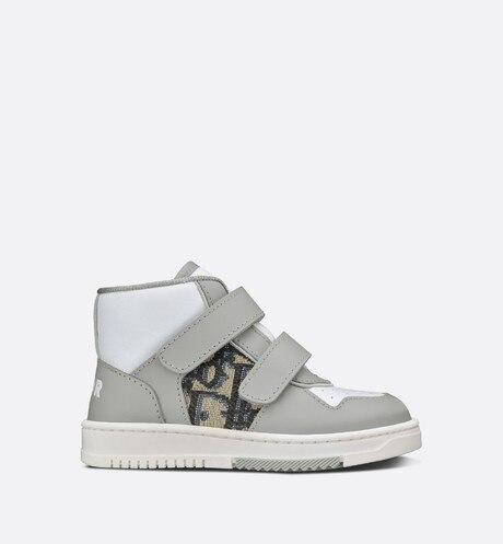 B27 High-Top Sneaker • Gray and White Smooth Calfskin with Beige and Black Dior Oblique Jacquard