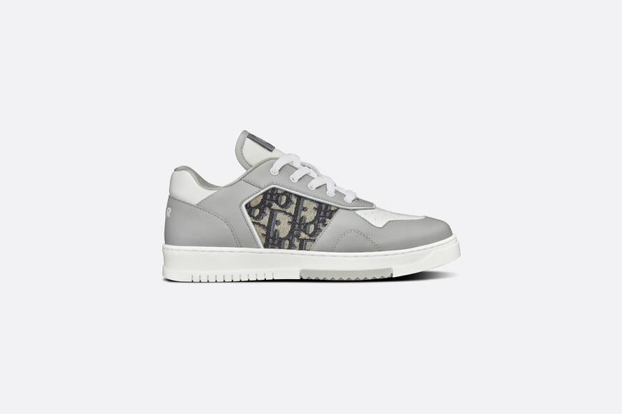 B27 Low-Top Sneaker • Gray and White Smooth Calfskin with Beige and Black Dior Oblique Jacquard