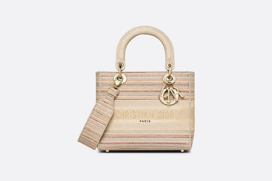 Medium Lady D-Lite Bag • Multicolor Stripes Embroidery
