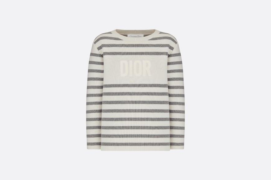 Sweater • Ivory and Gray Cotton Tricot Knit and Cashmere