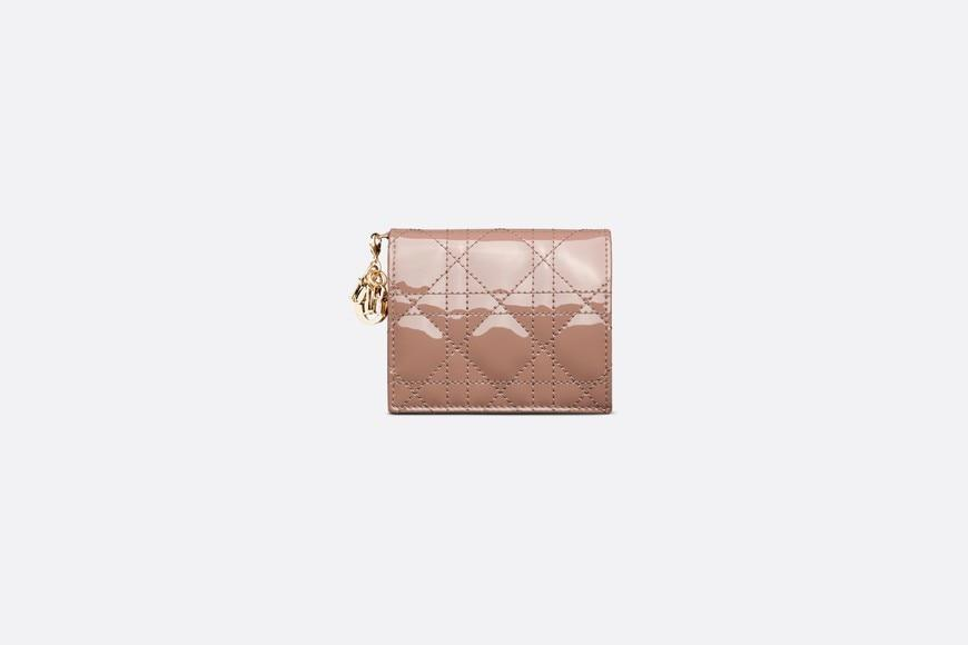 Mini Lady Dior Wallet • Warm Taupe Patent Cannage Calfskin
