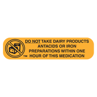 """DO NOT TAKE DAIRY"" Medication Label"