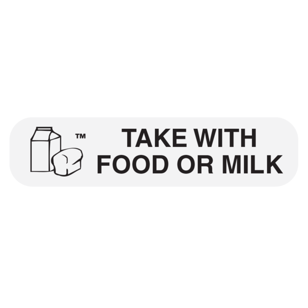 """Take with FOOD/MILK"" Medication Label"