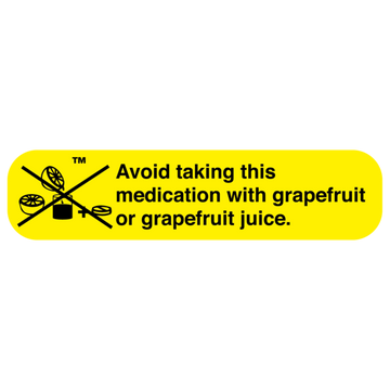 """DO NOT TAKE W/GRAPEFRUIT"" Label"
