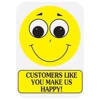 """CUSTOMERS LIKE YOU MAKE US HAPPY"" medication label"