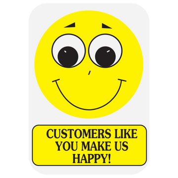 """CUST-YOU MAKE US HAPPY"" Label"