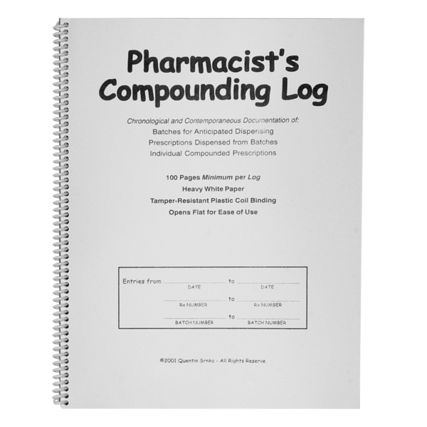 Pharmacist's Compounding Tools Log Book