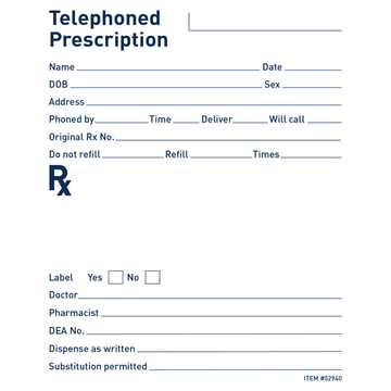 Rx Telephoned Prescription Pad