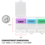 compartment dimensions of the Weekly Universal Push 'n Pop® Pill Planner
