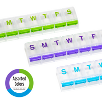 Push Button Weekly Pill Planner assorted colors