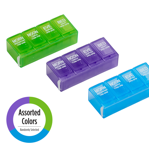 4x/Day Pill Planner (Locking) assorted colors