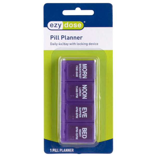 4x/Day Pill Planner (Locking) in blister package