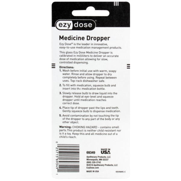Straight-Tip Calibrated Glass Medicine Dropper (1 mL) directions