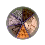 Vitamin Organizer open showing pills