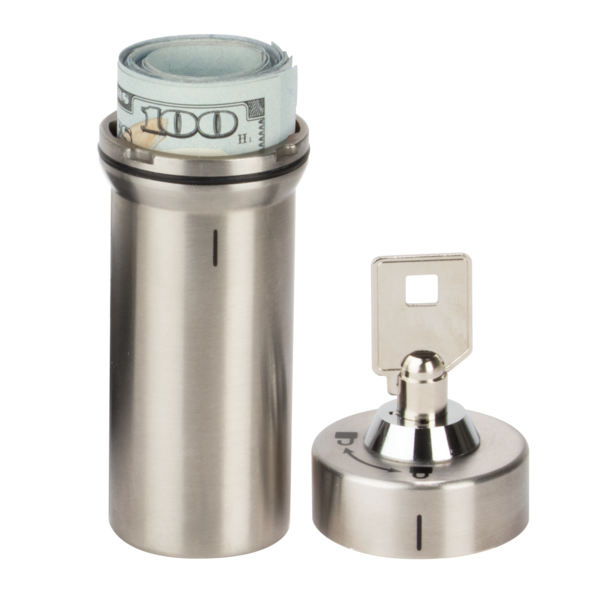 Stainless Steel Locking Container holding money
