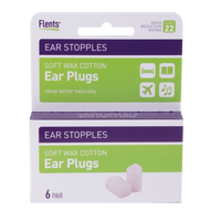 6 pairs of Wax-Cotton Ear Plug Stopples