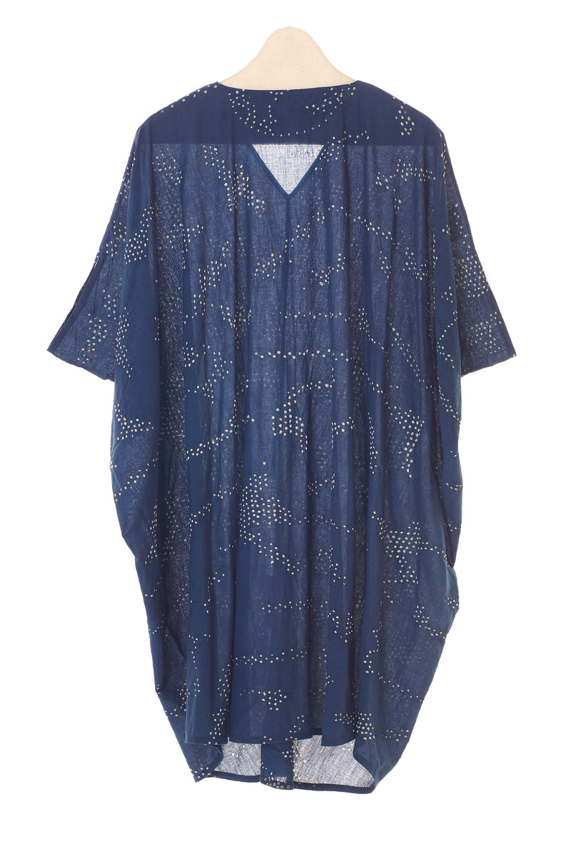 INDIGO BANDHANI COTTON DRAPED DRESS