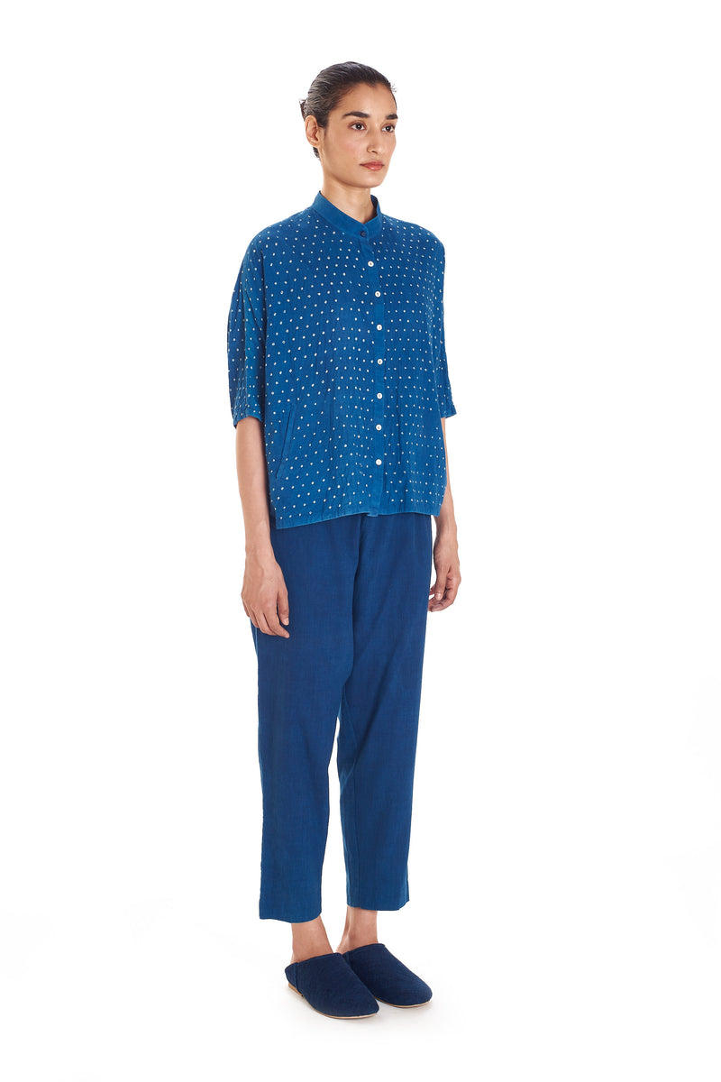 INDIGO DRAWSTRING PANTS ORGANIC COTTON