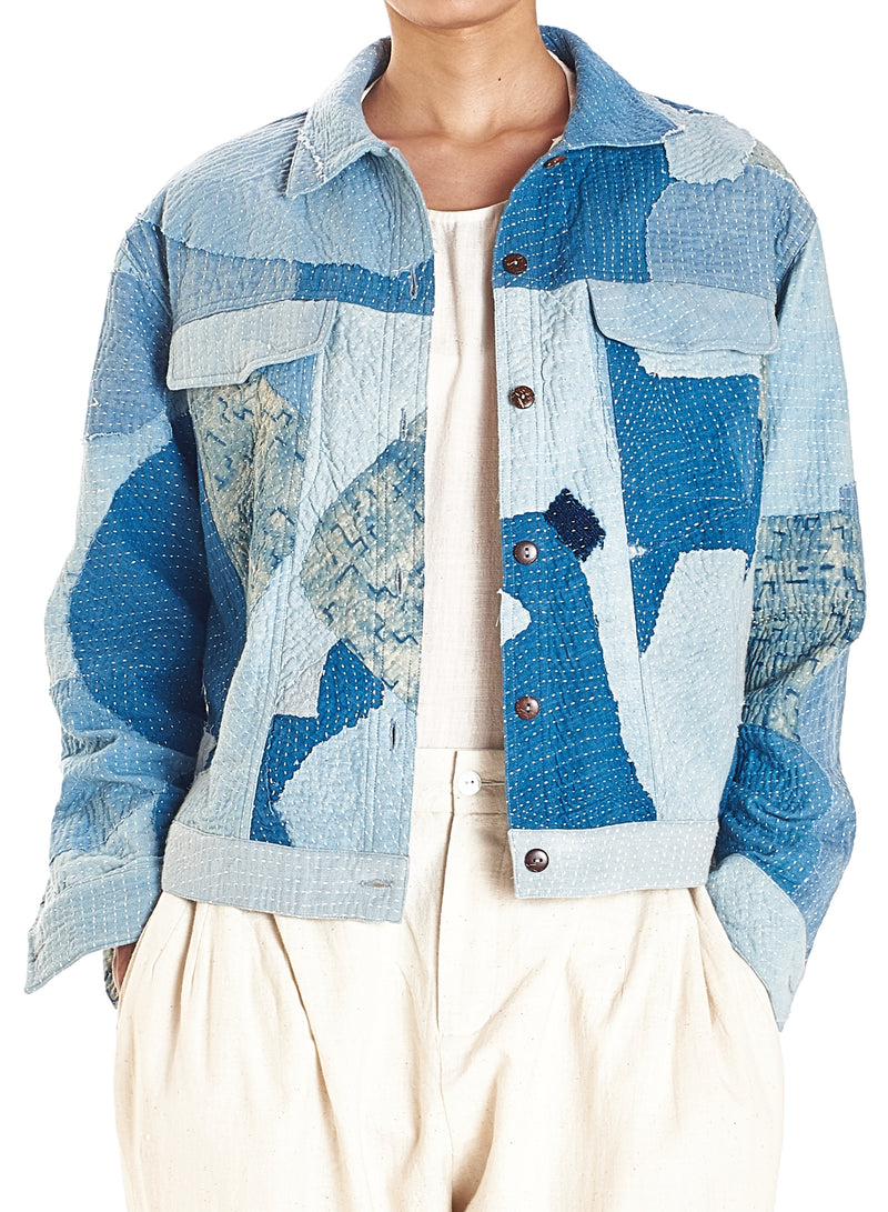 INDIGO  PATCHWORK QUILTTED JACKET ORGANIC COTTON