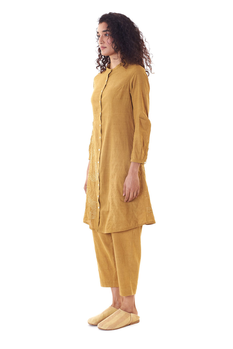 MUSTARD YELLOW STRIGHT FIT SHIRT IN BANDHANI ORGANIC COTTON