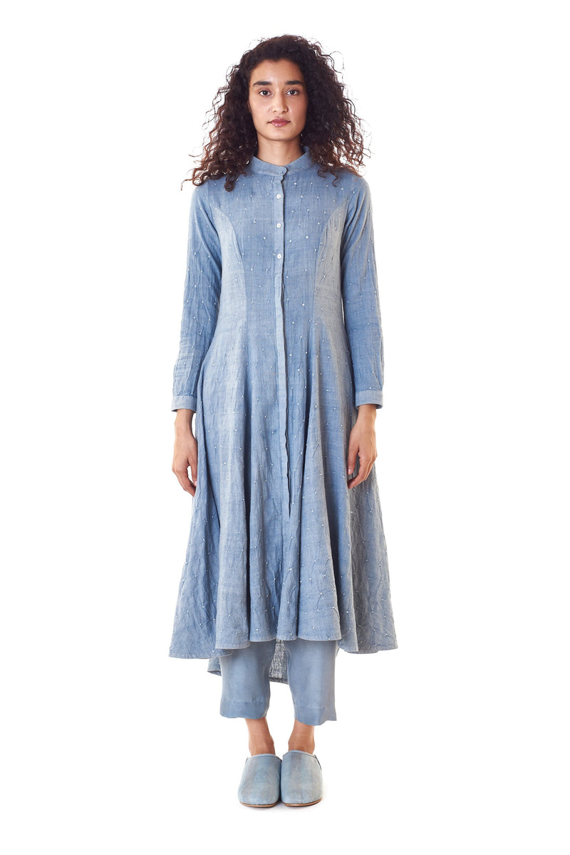 INDIGO FLARED BANDHANI DRESS ORGANIC COTTON