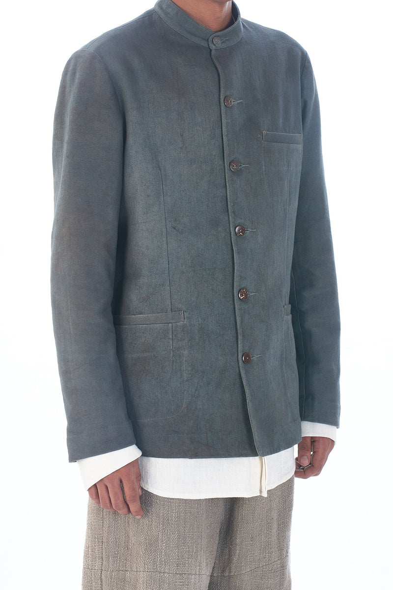 STAND COLLAR BASIC JACKET NATURAL DYED ORGANIC COTTON