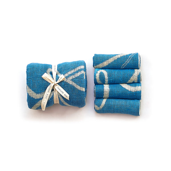 INDIGO HAND PAINTED TOWEL BOX SET