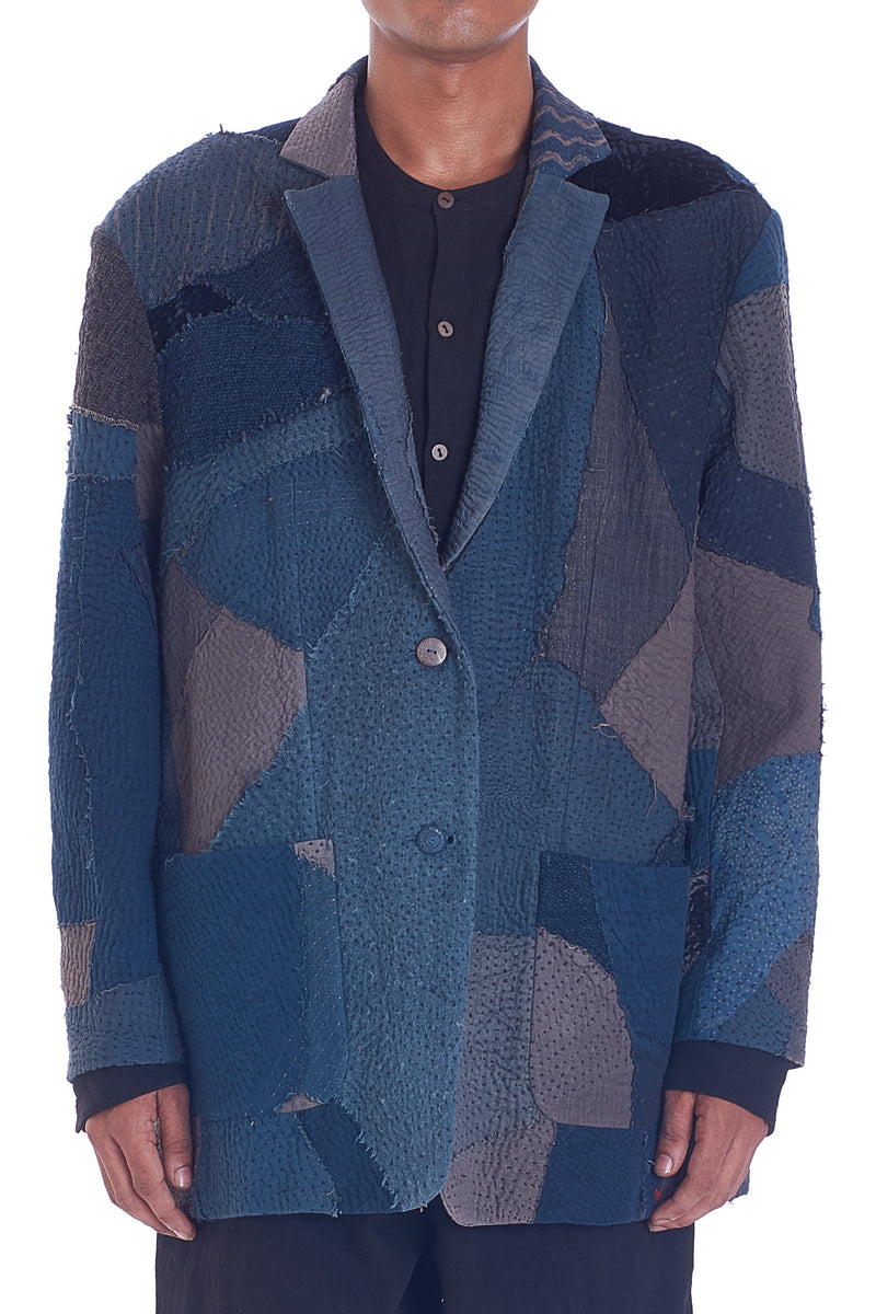 INDIGO QUILTED PATCHWORK JACKET