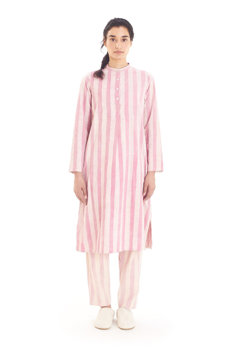 HANDPAINTED STRIPES PINK STRAIGHT DRESS