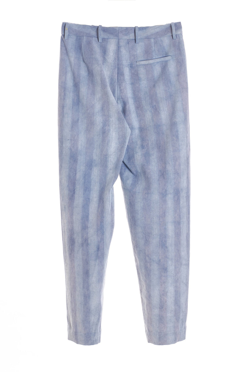 INDIGO HANDPAINTED STRIP STRIGHT FIT TROUSER ORHANC COTTON