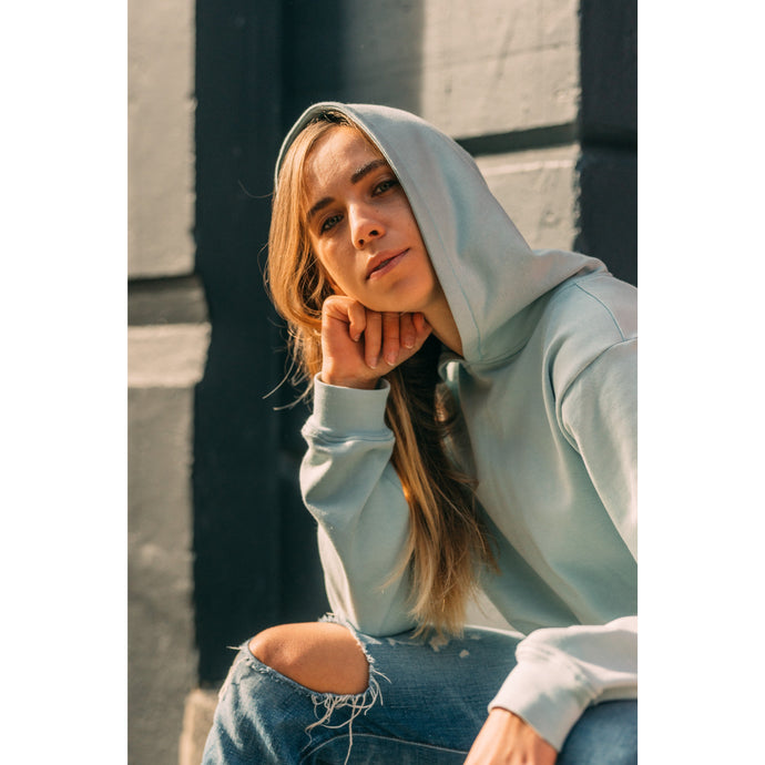 OVERSIZED HOODIE HAILEY IN MINT BLUE - Big Buttons