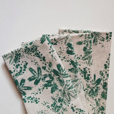 Napkin set : Wattle in Bottle Green x Printink Studio