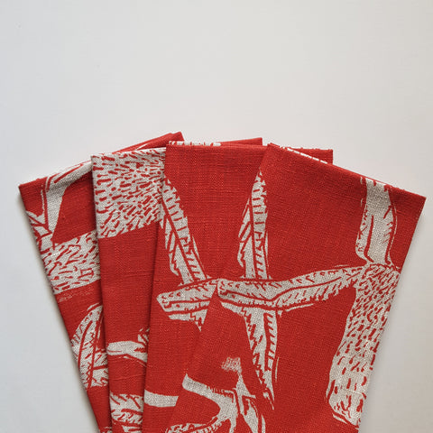 Napkin set : Banksia in Red x Printink Studio