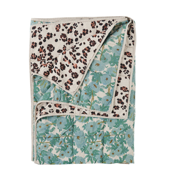 Leopard/Joan Floral double sided quilt by Society of Wanderers