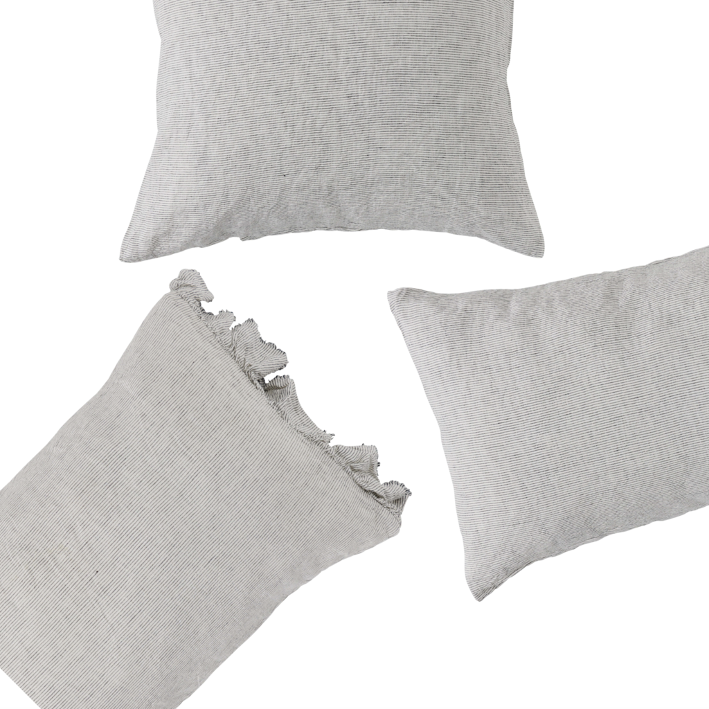 Ruffle Pillowcase set : Pinstripe