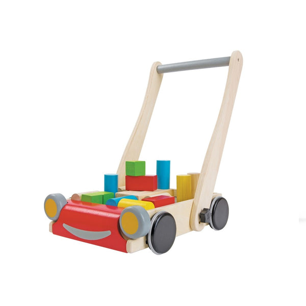 Wooden Plan Toys Baby Walker with wooden blocks