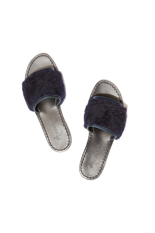 Selvaggia Metallic Blue Slides