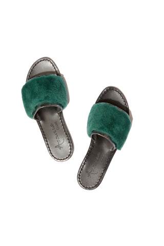 Selvaggia Metallic Green Slides