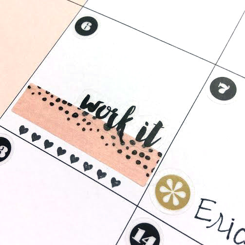 Work it Sticker in a Happy Planner