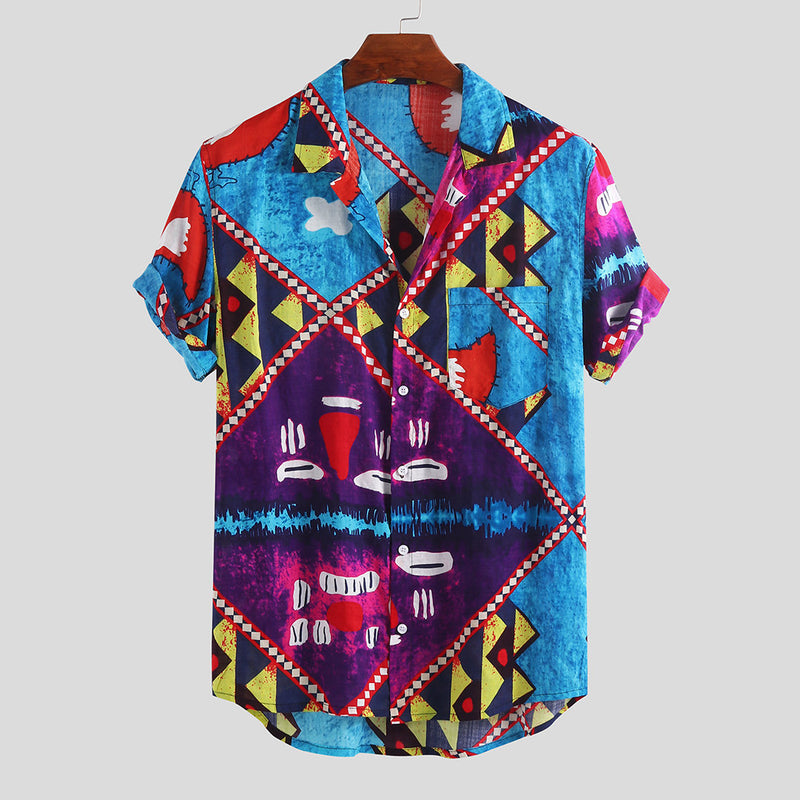 Hawaiian Beach Print Loose Casual Shirt