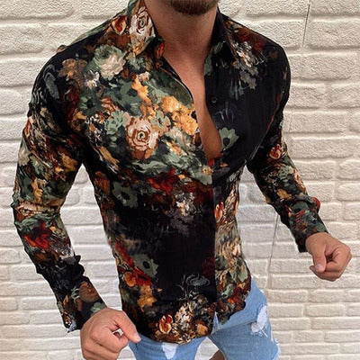 Fashion Men's Printed Color Long-sleeved Shirt