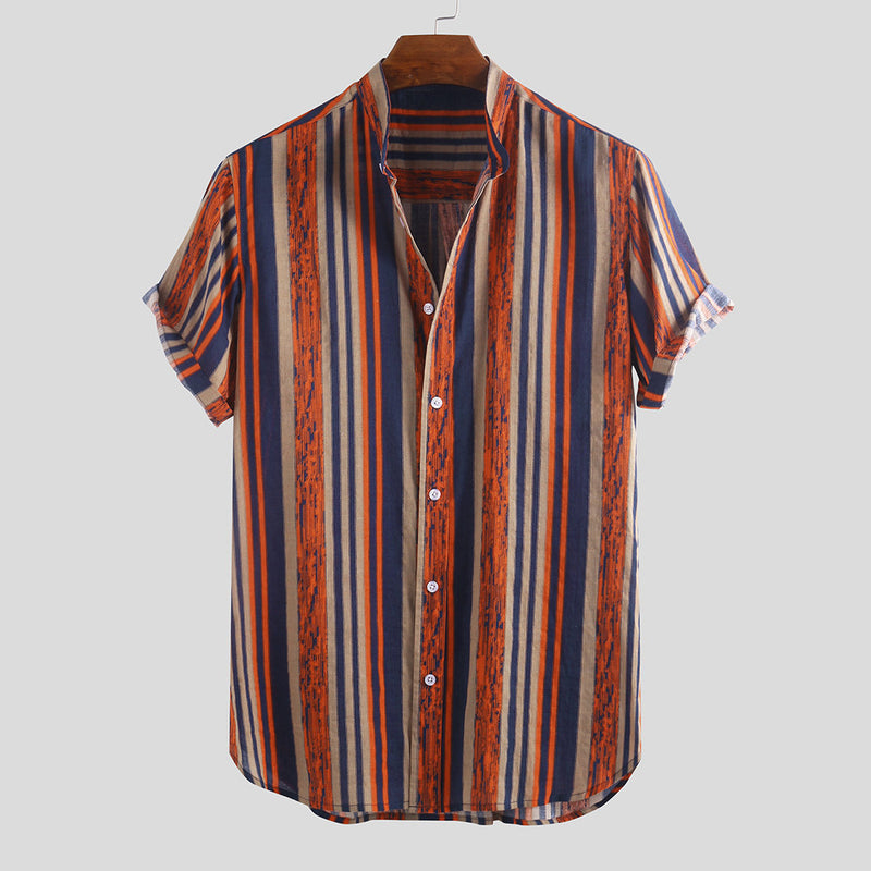 Printed Contrast Striped Casual Shirt