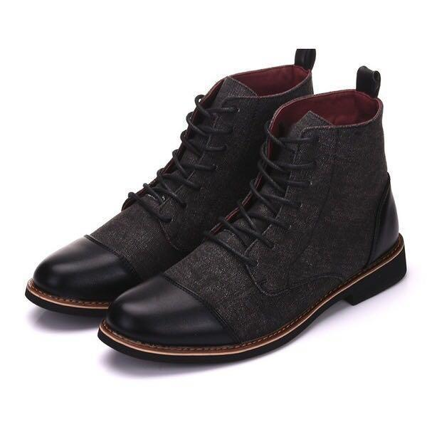 Ankle Boots - Casual Lace Up Oxfords Patchwork Boots