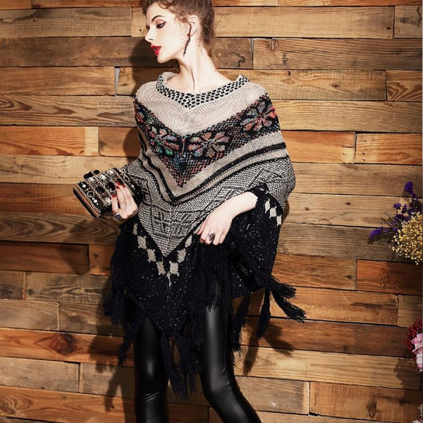 Small Cashmere Female Fringed Shawl