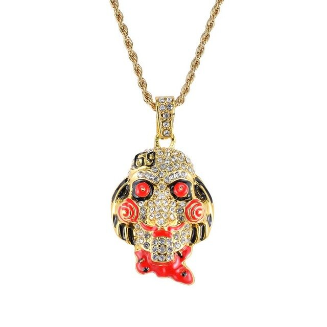 Hip Hop SAW Mask Pendant Colorful Street Stylish Trend Special Cool Necklace