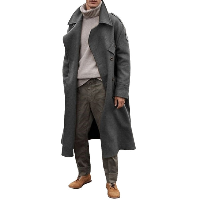 Men's classic casual loose long coat