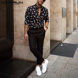 Men's slim-fit big dot long-sleeved shirt
