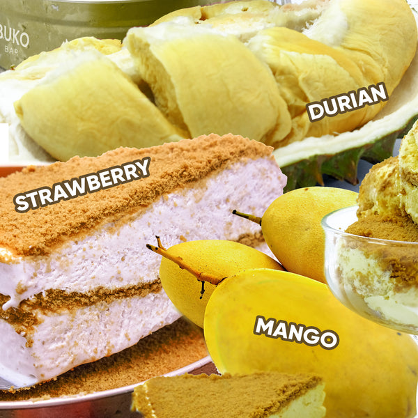 1 Mango, 1 Durian and 1 Strawberry Graham Ice Cream 750ML - 3cans