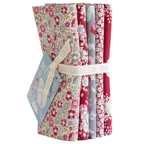 TILDA WOODLAND FAT QUARTER RED/GREY BUNDLE - PRE-ORDER
